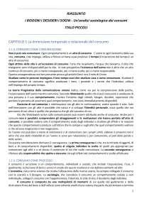 RIASSUNTO I BISOGNI I DESIDERI I SOGNI - ITALO PICCOLI - SOCIOLOGIA DEI COSNUMI - AA 2016-2017