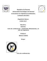 Ciclo de conferencias: Catástrofes alimentarias.