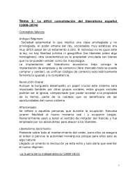Tema 1. Historia Contemporánea de España