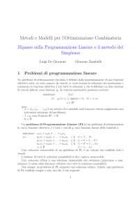 Note su Programmazione Lineare e Metodo del Simplesso
