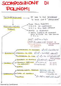 Schemi per la scomposizione di polinomi con i metodi principali