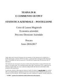 TESINA E COMMENTO OUTPUT IN R - STUDIO CON 4 VARIABILI ESPLICATIVE - UNICH - STATISTICA AZIENDALE - ECONOMIA AZIENDALE PESCARA