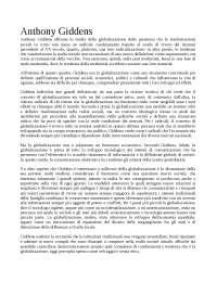 Anthony Giddens - Globalizzazione