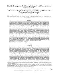Eficácia de um Protocolo Fisioterapêutico para o Equilíbrio em Idosos