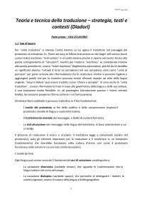 Riassunto di Diadori, Teoria e tecnica della traduzione