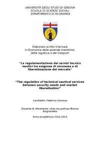 Tesi sulla regolamentazione dei servizi tecnico nautici