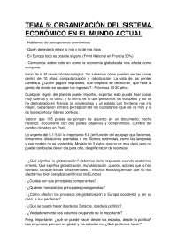 TEMA 5: ORGANIZACIÓN DEL SISTEMA ECONÓMICO EN EL MUNDO ACTUAL
