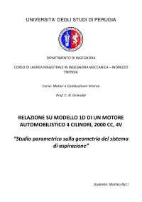 Progetto di MOTORI A COMBUSTIONE INTERNA