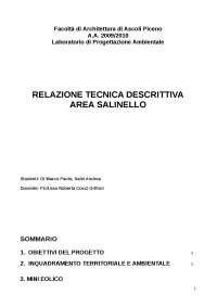 RELAZIONE TECNICA DESCRITTIVA AREA SALINELLO