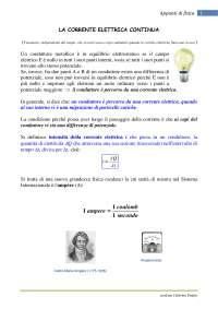 Corrente, cariche, leggi di Ohm, leggi fondamentali - Appunti di fisica