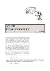 """""""Jouer en maternelle"""""""