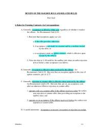 Contracts Law Mailbox Rules and Examples Restatement 2nd , Exercises for Civil Law