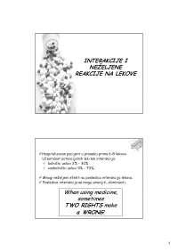 Interakcije i nezeljena dejstva lekova