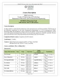 Micro-Processor Lab Description