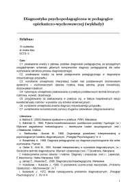 Diagnostyka psychopedagogiczna w pedagogice opiekuńczo-wychowawczej - Wykład 1