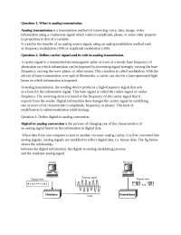 Analog Transmission in the Data Communication