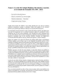 Historia contemporánea de España. Tema 1