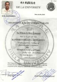temperory first degree certificate