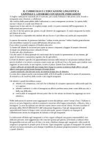 il curricolo e l'educazione linguistica Adriano Colombo