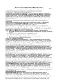 RIASSUNTO PSICOLOGIA DELL'APPRENDIMENTO - MANSON