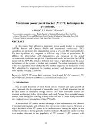 -Maximum power point tracker (MPPT) techniques in pv systems