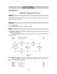 Kirchhoff's Voltage and Current Laws