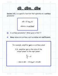 db dbm dbw calculation