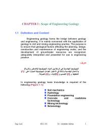 Engineering Geology - terminology and basic concepts