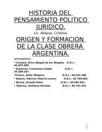 Origen y formación de la clase obrera en Argentina