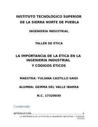 importancia de la ética en la ingeniería industrial