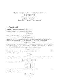 matematica per applicazioni economiche