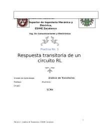 Práctica RL. Aplicaciones y desarrollo de un circuito RL