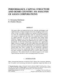 Capital structure of firms in asia