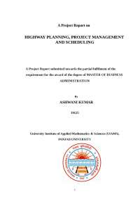 highway planning management and scheduling techniques