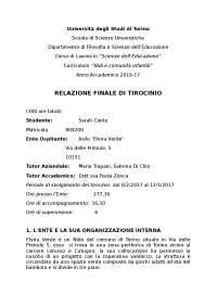 RELAZIONE DI TIROCINIO ASILO NIDO