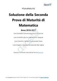 Soluzioni della seconda prova di matematica - Maturità 2017