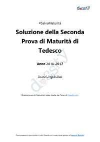 Soluzioni della seconda prova di Tedesco - Maturità 2017
