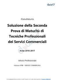Soluzioni della seconda prova di Tecniche Professionali dei Servizi Commerciali - Maturità 2017