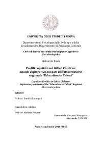"Profili cognitivi nei Gifted Children: analisi esplorative sui dati dell'Osservatorio regionale ""Education to Talent"""