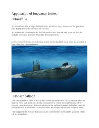 Application of buoyancy forces