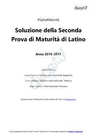 Soluzioni della seconda prova di latino - Maturità 2017