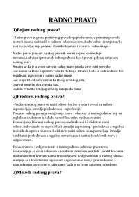 skripta za polaganje ispita iz predmeta radno pravo za studente druge godine prava