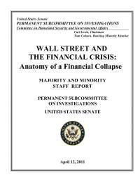 Wall Street and the Financial Crisis