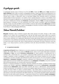 la pedagogia speciale, Pestalozzi, Froebel, Herbart
