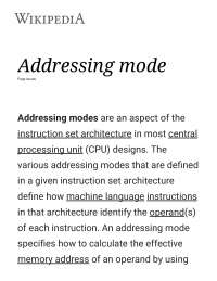 Notes on Addressing Modes