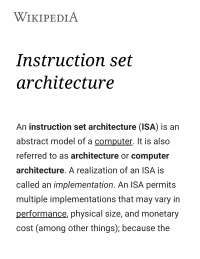Notes on Instruction Set Architecture