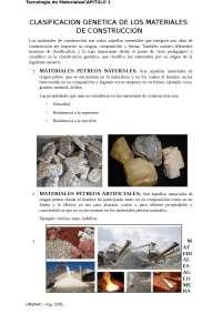 CLASIFICACION GENETICA DE LOS MATERIALES DE CONSTRUCCION