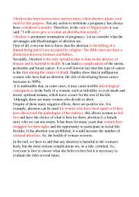 "essay in inglese sul tema ""abortion"""
