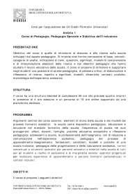 Corso di Pedagogia, Pedagogia Speciale e Didattica dell'Inclusione