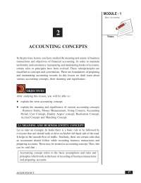 Accounting concepts and formulas